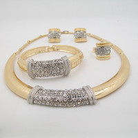 Wholesale nigerian wedding african beads jewelry set crystal for popular upscale new product bling necklace jewelry set
