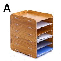 Wholesale Wooden office supplies creative desktop A4 file box multilayer information storage rack
