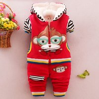 Spring / Autumn baby girl clothes monkey - Lowest Price Autumn Winter Two piece Children Suit Monkey Cartoon Long Sleeve Boys and Girls Clothing Sets Child Clothes Baby Kids