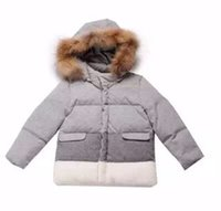 Wholesale Gray and white Patchwork boy jacket winter coat for children clothings IN F high quality new arrivals outwear