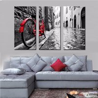 artwork parks - LK3194 Panel Cityscape A Red Bike Park On The Street Oil Painting For Modern Sitting Room Home Decoration Print on Canvas Giclee Artwork