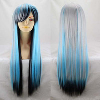 Wholesale 31 quot cm Multicolor Ombre Color Anime Cosplay Synthetic Wigs Brand Fashion Long Full Hairs Ladies Straight Wigs Heat Resistant Hot Sales