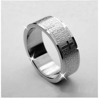 Wholesale 2016 Hot Silver Color The Holy Bible Ring Wedding Rings Men Jewelry Titanium steel Rings TX
