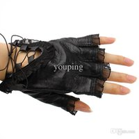 Wholesale Hot Women Black Cycling Leather Gloves Half Finger Lace Design Ladies Motorcycle Gloves Spring Summer Dress Accessories
