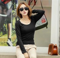 Wholesale Korean Style Free Size O Neck Solid Candy Color Casual Women T Shirt Long Sleeve Cotton Women Tops New Autumn Bottoming Shirt