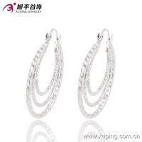 Hoop & Huggie big fashion earrings wholesale - Women Rhodium Plated Big Earrings Hot Sell Earhoops Fashion Style Xuping Environmental Copper Jewelry Earrings For