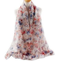 arab sweets - 2016 Women Floral Scarf Voile Cosy Long Shawl Flowers Blooming Print Muslim Scarfs Fashion Arab Hijabs Sweet Scarves And Shawls FS6782