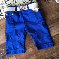 Wholesale fashion summer broken hole blue shorts pants child boys solid cotton children clothes china supplier