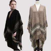 Wholesale New Womens Winter Poncho Cape Coat Shawl Cardigan Wool Coats Cloak Pashmina Tassel Scarf Overwear