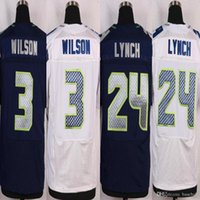 Wholesale Cheap football Russell Wilson Marshawn Lynch Navy blue White Stitched elite Jerseys