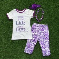 little girls clothing - 2016 kids girls Summer outfit clothes arrow little purple clothing ruffle long pants set with matching accessories