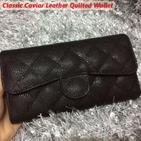 achat en gros de cuir matelassé-Hot vendant noir caviar classique cuir matelassé femmes portefeuille authentique en cuir de veau carte portefeuille porte-monnaie 5 Mix design Livraison gratuite