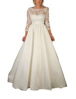 Wholesale 2016 Plus Size Vintage Beach Lace Backless Wedding Dresses A line Satin Sexy Sweep Train Bridal Gowns