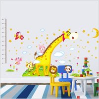 animal kingdom stickers - DIY Super Giraffe Forest Kingdom Decals Cartoon Growth Chart Wall Stickers height measuring stick Kindergarten Home Decor For Kids Room Fre
