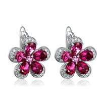 Wholesale Handmade JewelrySHIPEI Rose Red Flower Stud Earrings in Plated Platinum with AAA Imitation Diamond Carat Total Weight