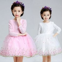 Wholesale Baby Kids Clothing Girls Dresses wedding princess Ball Gown long sleeve pink Lace Hook bud silk flower girl gowns white pageant dress