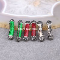angels ceramics - P8 Small Size Mixed Color Ceramic Connectors Beads Cylinder shaped with Crystal Zircon Paved Spacer Loose Beads Findings