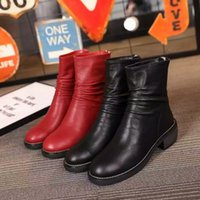 Wholesale Ladies Boots Leather Black Waterproof winter snow boots after the zipper red fashion discount shoes