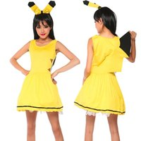 animated females - 2016 new European and American clothing game uniforms Pikachu animated cartoon role playing clothing stretch fabric material
