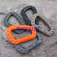 Wholesale D Shape Mountaineering Buckle Snap Clip Plastic Steel Climbing Carabiner Hanging Keychain Hook Fit Outdoor Army EDC