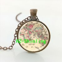 antique world globe - CRS World map necklace glass dome pendant vintage jewelry antique bronze globe choker planet Earth neckless fashion gift for her him