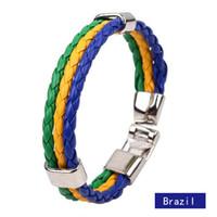 Wholesale 2016 New Hot Brazil World Cup Soccer The Allied Edition Bracelets Bracelets Braided leather Bracelet Decorations