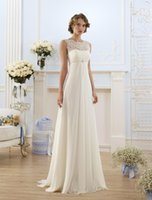 Wholesale 2016 Simple Elegant Vintage Wedding Dresses Jewel Lace Up Back Chiffon Lace A Line Dresses Cheap Hot Sale
