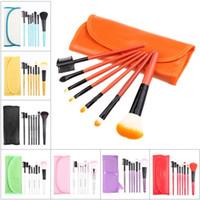 Wholesale 7Pcs Set Of Hot Colorful Professional Soft Cosmetic Make up Brush Set Blush Makeup Brushes Pouch Bag Case Make up Tools