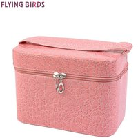 aluminum fly boxes - FLYING BIRDS Capacity Large Crocodile Cosmetic Bags Box Jewelry Display Case Travel purse Wash Makeup Bag Beauty Case LM3602fb