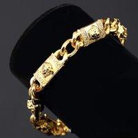 14k real gold - 2016 European Medusa k real gold palted hip hop luxury gilt head pendant bracelet hip hop long statement bracelet