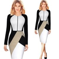 Wholesale 2016 New Fashion Pink White Panelled Work Dresses Long Sleeves Knee Length Women Causal Dresses Party Gowns Cheap In Stock FS0069