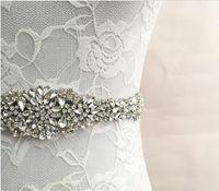Wholesale Crystal sashes for wedding Wedding Bridal Belt Braided Rhinestone SashShining diamond wedding bride dress waist ribbon bow belt yarn silk