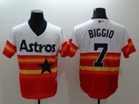 Wholesale New Baseball Jerseys Astros Biggio Jersey Throwback Rainbow Color Size Mix Order Cheap Polyester Flexbase Jersey