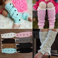 Wholesale Warm Kids Trendy Knitted Button Lace Leg Warmers Trim Boot Cuffs Socks