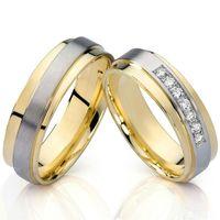 bandes de mariage de titane acier santé placage or 18 carats 2016 bijoux de mode fiançailles couples anneaux ensembles pour les hommes et les femmes