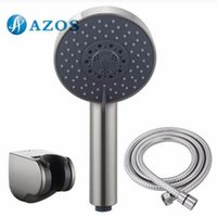Wholesale Bathroom FIVE Function Handheld Shower Head with Extra Long Hose and Bracket Holder Brushed Nickel Bathroom Accessories HHS010S F