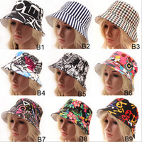 Wholesale 11 designs Women Bohemia Striped Plaid Floral Printed fitted Caps Ladies Headwear Bucket Hat Girls Stingy Brim Hats trilby hat Sun Cap