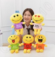 best friends videos - Cute Lovely Emoji Smiley dolls best friend Cartoon Cushion Pillows Yellow Round emoji doll Stuffed Plush Toy cm cm cm LJJH1405