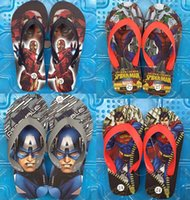 Wholesale Cartoon Kids Slippers The Avengers Slippers Children Summer Beach Slippers Superhero Slippers Superman spiderman baby shoes D584 pairs