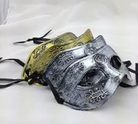 antique school items - Half Face Archaistic Roma Antique Classic Men s Mask Mardi Gras Masquerade Halloween Venetian Costume Party Masks Silver Gold Item Descr