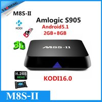Wholesale 10pcs M8S II Android5 Tv box Quad core S905 G G samrt tv GWIFI KODI16 xbmc M8S Gigabit Network Media PlayerH Bluetooth vs M8SM8S