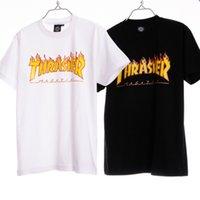 Cheap 2016 Thrasher Skateboard T Shirts Tees Mens Boys Hip Hop Oversized White Black T shirts Tops Baskeball Jersey Tees LLWF0512