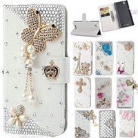 Wholesale 3D Bling Diamond Leather Flip Wallet Skin Cover For iphone for Samsung for LG