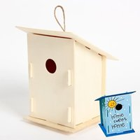 Wholesale 1PC DIY Handpainted bird house Bird cage Home ornament Garden decoration Kids toy Wood toy x11 x16cm Freeshipping