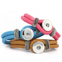 Wholesale Snap Button Bracelets For Women Men Removable NOOSA chunks Leather Braided Bracelets Fit mm Noosa ginger snaps interchangeable jewelry