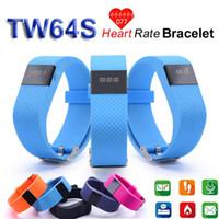 Wholesale TW64S Heart Rate Monitor SmartBand Pulso Inteligente Banda Pulse Measure Smart Band Sport Smart Wristband Health Fitness Tracker By Epacket