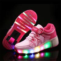 single wheel shoes - Child Jazzy Heelys Junior Girls Boys LED Light Heelys Children Roller Skate Shoes Kids Sneakers With Single Wheels