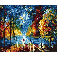 Wholesale New DIY Digital Oil Painting On Canvas Landscape Walking In The Night DIY Oil Painting By Numbers Paint Rimless