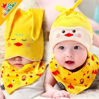 Wholesale Summer Spring cotton newborn infant baby boy girl hat cap towel set Ears Animal cartoon sleep beanie unisex clothing baby girl months