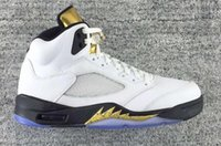 buy best cheap basketball shoes - Discount Air Retro 5 Gold Cheap Best Basketball Shoe Mens Brand New Retro 5s Sneakers Comfortable Running Shoes Men Sports Outdoors Trainers